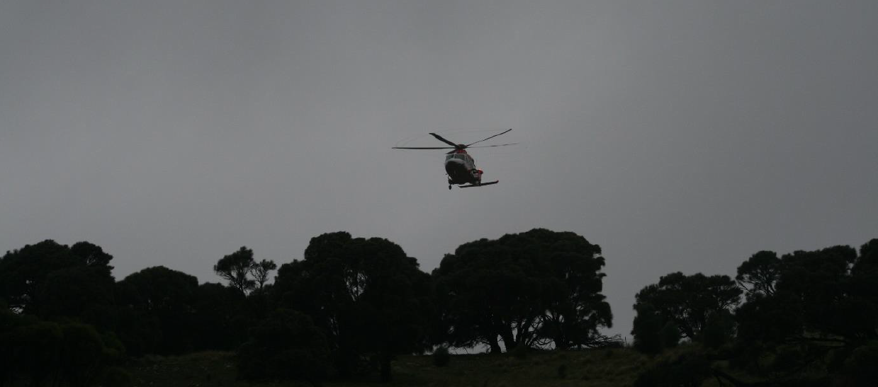 The medevac chopper coming in to land in marginal conditions