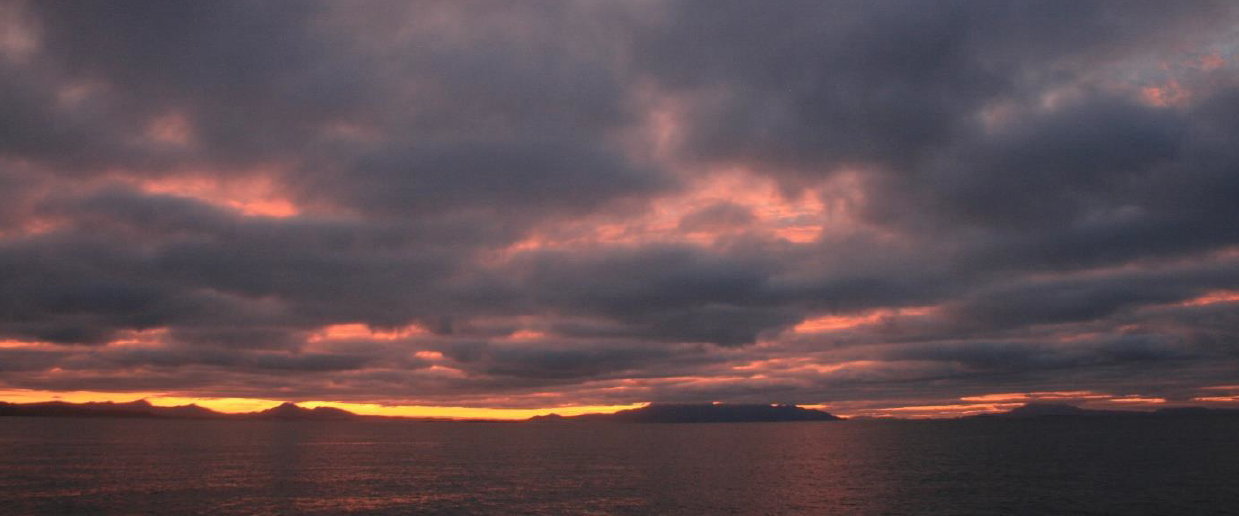 Our first sunrise at Prime Seal – looking across to Flinders Island